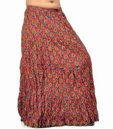 Buy Rajasthani Blue Red Bootie Cotton Long Skirt skirt online