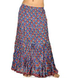 Buy Rajasthani Blue Red Pure Cotton Long Skirt skirt online