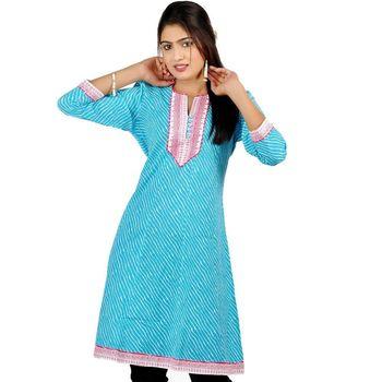 Exclusive Hot Designer Girls Blue Cotton Kurti