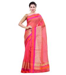 Buy Pink woven organza saree with blouse organza-saree online