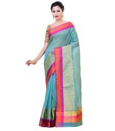 Buy Sky blue woven organza saree with blouse organza-saree online