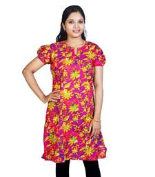 Ethnic Design Printed Magenta Cotton Kurti