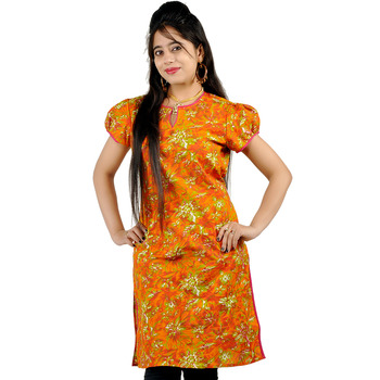 Ethnic Girls Multi Printed Orange Cotton Kurti