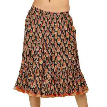 Ethnic Black and Red Pretty Cotton Short Skirt