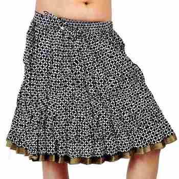 Zari Border Black and White Cotton Short Skirt