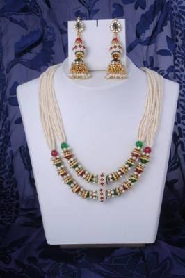 Classy Pearl Necklace Set with Jhoomkas