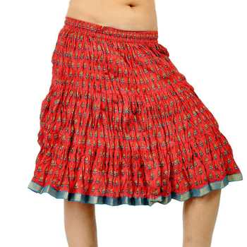Rajasthani Hand Block Pure Cotton Short Skirt