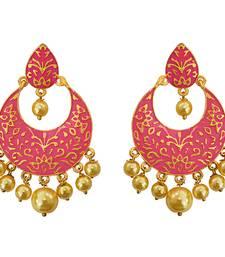 Buy Meenakari pink kundan single color gold plated brass dangler earring set-563 Earring online