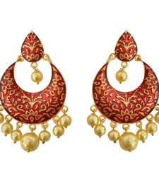 Buy Meenakari brown kundan single color gold plated brass dangler earring set-567 Earring online