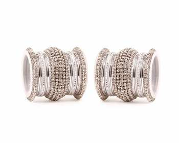 All Silver Chakri Shining Bangle Set For Two Hands