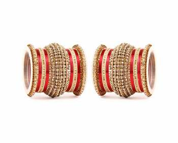 Red Chakri Shining Bangle Set For Two Hands
