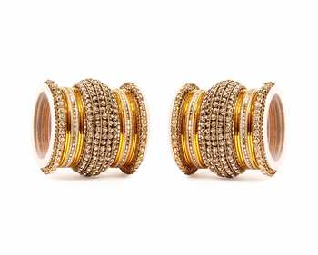 Yellow Chakri shining bangle set for two hands
