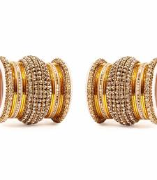 Buy Yellow Chakri shining bangle set for two hands bangles-and-bracelet online