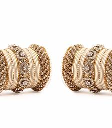 Buy SOLID COLORED BEIGE BANGLE SET FOR TWO HANDS BY LESHYA bangles-and-bracelet online