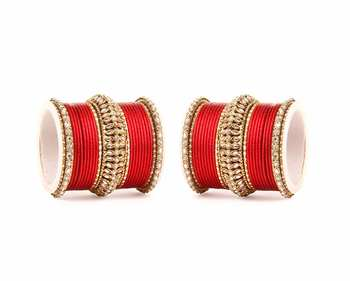 Bridal Kundan Bangle Set For Two Hands By Red