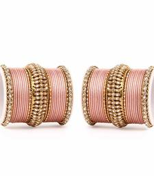 Buy Bridal kundan Bangle set for two hands by Peach bangles-and-bracelet online