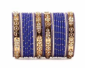 Traditional Bangle Set With Golden Dotted Bangles By Blue