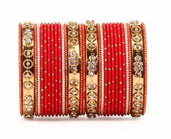 Traditional Bangle Set With Golden Dotted Bangles By Red