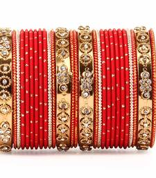 Buy Traditional Bangle Set with golden dotted bangles by Red bangles-and-bracelet online