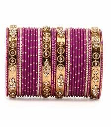 Traditional Bangle Set with golden dotted bangles by Purple