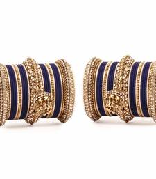Buy Traditional Jhumki Bangle set by for two hands Blue bangles-and-bracelet online