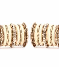 Buy Beautiful Velvet Bangle and Pearl Set by for two hands by Beige bangles-and-bracelet online