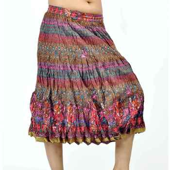 Rajasthani multicolor Color Pure Cotton Short Skirt
