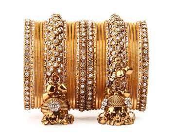 Traditional Shining Bangle Jhumki Bangle Set For Two Hands By Golden