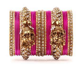 Traditional shining bangle Jhumki Bangle set for Two Hands by Pink