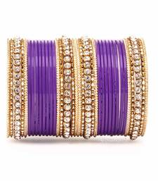 Buy Simple Matte textured stone Bangle Design by for Women Purple bangles-and-bracelet online