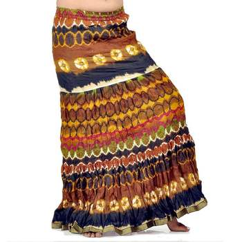 Crushed Style Blue Brown Cotton Long Skirt