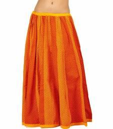 Ethnic Jaipuri Yellow Red Cotton Lehanga Skirt