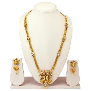 Atasi International Traditional Gold Plated Temple Jewellery Necklace Set