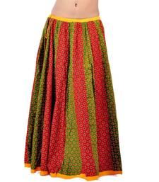 Rajasthani Red Green Fine Cotton Lehanga Skirt