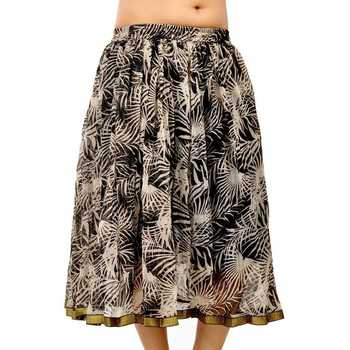 Bollywood Style Black And Cream Chiffon Skirt
