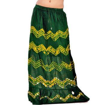Bandhej Green N Yellow Exclusive Cotton Skirt