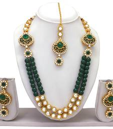 Atasi International Green Beads Kundan Necklace Set