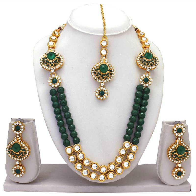 Kanjivaram Beads: Atasi International Green Beads Kundan Necklace Set