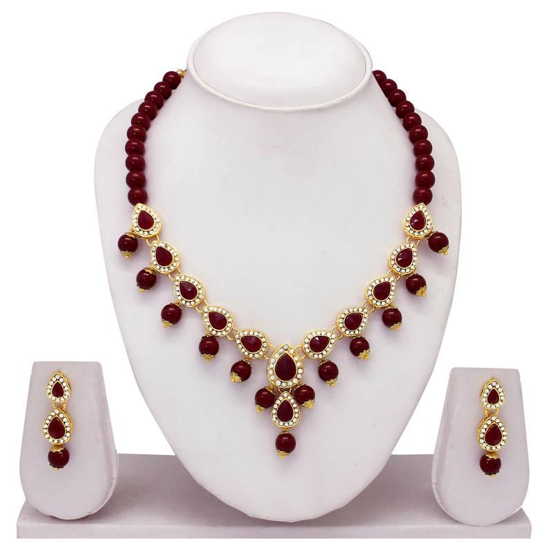 Kanjivaram Beads: Atasi International Royal Beads Maroon Red Necklace Set