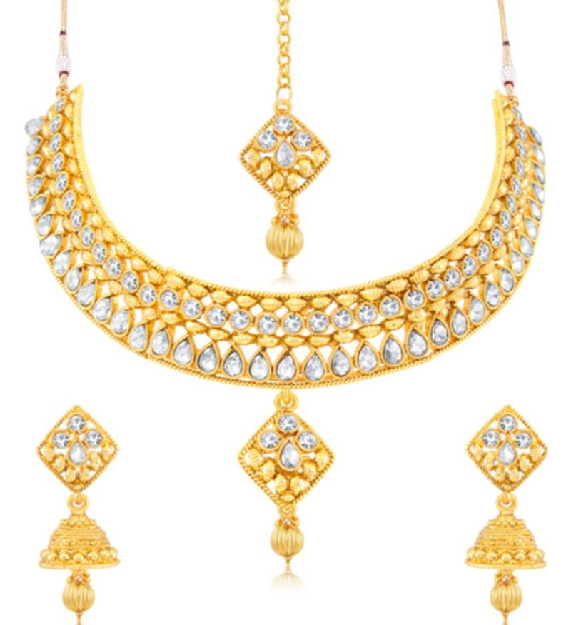 Sukkhi Traditional Gold Plated Necklace Set: Sukkhi Traditional Gold Plated Choker Necklace Set For