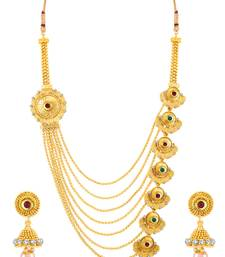 Buy Sukkhi Alluring Jalebi Design 7 String Gold Plated Necklace Set women-ethnic-wear online