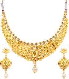 Buy Sukkhi Lavish Gold Plated Choker Necklace Set for women necklace-set online