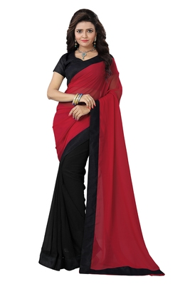 1ccc3adae7ded0 Navy blue plain faux georgette saree with blouse - Mirchi Fashion ...