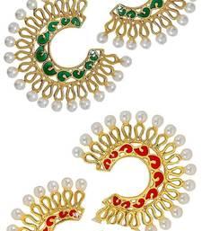 Chaand Bali Filigree Gold Plated Multicolor Meenakari Pearl Earring Combo For Women