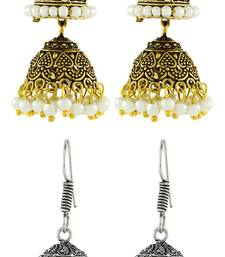 Antique Oxidized German Silver Pearl Double Jhumki Earring Combo For Women