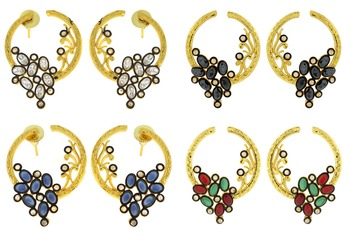 Flower Filigree Victorian Kundan American Diamond Gold Plated Crescent Stud Earring Combo For Women