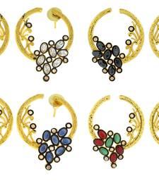 Flower Filigree Victorian Kundan American Diamond Gold Plated Crescent Stud Earring Combo For Women