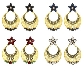 Filigree Flower Chaand Bali Multicolor American Diamond CZ Gold Plated Earring Combo For Women