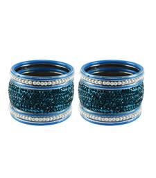 Buy Firozi Stone Stud Brass Bangle set bangles-and-bracelet online