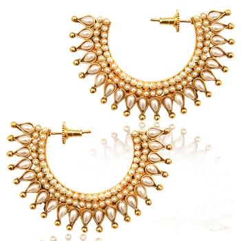 Very festive ethnic hoop bali pearl India earring